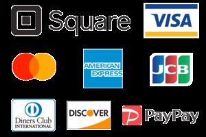スクエア、VISA、MasterCard、AmericanExpress,JCB、DinersClub、Discover、paypay